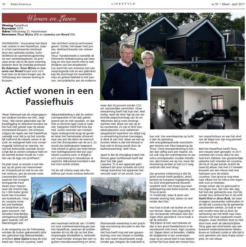 Interview met Tinus en Louwina uit Heerenveen in Fries Journaal